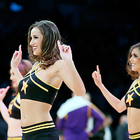 28 February 2014: The Laker Girls perform during the Los Angeles Lakers 126-122 victory over the Sacramento Kings at the Staples Center, Los Angeles, California, USA.