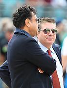 Dec 16, 2018; Jacksonville, FL, USA; Jacksonville Jaguars owner Shad Khan talks with Washington Redskins owner Daniel Snyder before an NFL game at TIAA Bank Field. The Redskins beat the Jaguars 16-13. (Steve Jacobson/Image of Sport)
