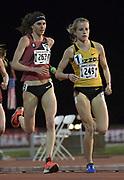 Karissa Schweizer of Missouri and Gwen Jorgensen  lead the women's 10,000m in the Stanford Invitational in Stanford, Calif., Friday, Mar 30, 2018. Jorgensen won in 31:55.68.  and Schweizer was third in 32:00.55. (Gerome Wright/Image of Sport)