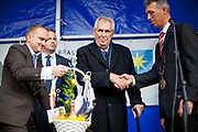 """Czech president Milos Zeman's during his public """"meetings with citizens"""" at the village of Brasy located in the Pilsen Region. The mayor of Brasy -  Ing. Mgr. Miroslav Kroc (right). Miloš Zeman (born 28 September 1944) is the third and current President of the Czech Republic, in office since 8 March 2013.  He announced his candidacy for the 2018 presidential elections which will be held in the Czech Republic on 12–13 January."""
