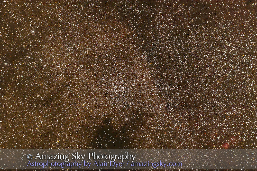 NGC 6259 open cluster in Scorpius. Looser NGC 6249 cluster at right. Nebula at lower right not identified in MSA. Taken with 4-inch AP Traveler apo refractor at f/4.5 with Canon 20Da camera at ISO 800 for stack of 4 x 4 minute exposures. Taken from Coonabarabran, NSW, March 28, 2007.