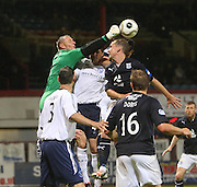 Forfar's Rab Douglas punches clear to deny Dundee's Gary Irvine - Dundee v Forfar Athletic, Ramsdens Cup at Dens Park<br />  <br />  - &copy; David Young - www.davidyoungphoto.co.uk - email: davidyoungphoto@gmail.com