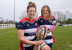 Amelia Buckland-Hurry of Bristol Ladies and mascot - Mandatory by-line: Paul Knight/JMP - 03/02/2018 - RUGBY - Cleve RFC - Bristol, England - Bristol Ladies v Harlequins Ladies - Tyrrells Premier 15s