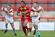 Bradford Bulls stand off Joe Keyes (7) makes a break  during the Kingstone Press Championship match between Dewsbury Rams and Bradford Bulls at the Tetley's Stadium, Dewsbury, United Kingdom on 10 September 2017. Photo by Simon Davies.