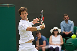 LONDON, ENGLAND - Tuesday, June 28, 2016: Aljaz Bedene (GBR) during the Gentlemen's Singles 1st Round match on day two of the Wimbledon Lawn Tennis Championships at the All England Lawn Tennis and Croquet Club. (Pic by Kirsten Holst/Propaganda)