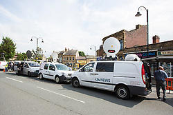 © Licensed to London News Pictures. 16/06/2016. Leeds, UK. Picture shows the large media presence where Police are at the scene in Birstall, south of Leeds, where Jo Cox, Member of Parliament for Batley and Spen, has been shot and stabbed during a constituency surgery. Photo credit: Andrew McCaren/LNP
