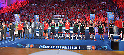 21.06.2015, Brose Arena, Bamberg, GER, Beko Basketball BL, Brose Baskets Bamberg vs FC Bayern Muenchen, Playoffs, Finale, 5. Spiel, im Bild Die Mannschaft des FC Bayern Muenchen bei der Ehrung fuer die Vizemeisterschaft. // during the Beko Basketball Bundes league Playoffs, final round, 5th match between Brose Baskets Bamberg and FC Bayern Muenchen at the Brose Arena in Bamberg, Germany on 2015/06/21. EXPA Pictures © 2015, PhotoCredit: EXPA/ Eibner-Pressefoto/ Merz<br /> <br /> *****ATTENTION - OUT of GER*****