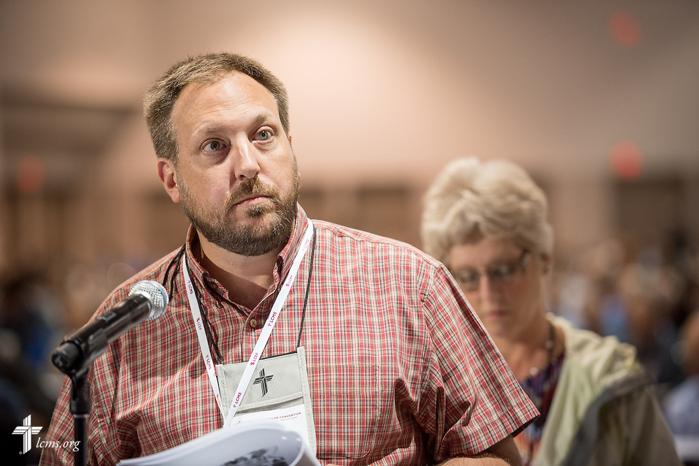 A delegate speaks Tuesday, July 12, 2016, at the 66th Regular Convention of The Lutheran Michael Schuermann