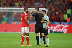 5LILLE, FRANCE - Friday, July 1, 2016: Referee Damir Skomina speaks with Wales' captain Ashley Williams during the UEFA Euro 2016 Championship Quarter-Final match against Belgium at the Stade Pierre Mauroy. (Pic by Paul Greenwood/Propaganda)