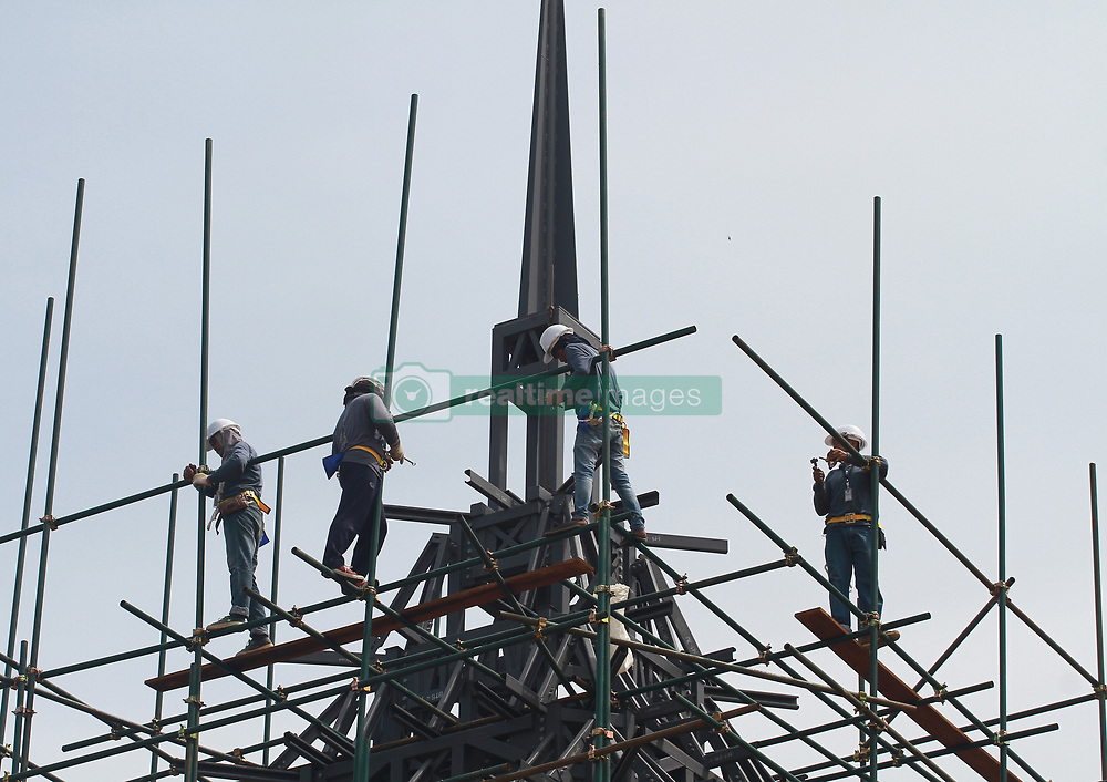 May 25, 2017 - Bangkok, Thailand - The funeral pyre and surrounding pavilions for the late Thai King Bhumibol Adulyadej is seen under construction inside Sanam Luang park, in front of the Grand Palace in Bangkok . The cremation of Thailand's late monarch Bhumibol Adulyadej will take place on October 26, the junta announced on April 25, just over a year since his death plunged the kingdom into deep mourning. (Credit Image: © Vichan Poti/Pacific Press via ZUMA Wire)