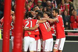 November 26, 2017 - Lisbon, Lisbon, Portugal - Benficas forward Toto Salvio from Argentina celebrating with is team mate after scoring a goal during the Premier League 2017/18 match between SL Benfica and FC Vitoria Setubal, at Luz Stadium in Lisbon on November 26, 2017. (Credit Image: © Dpi/NurPhoto via ZUMA Press)