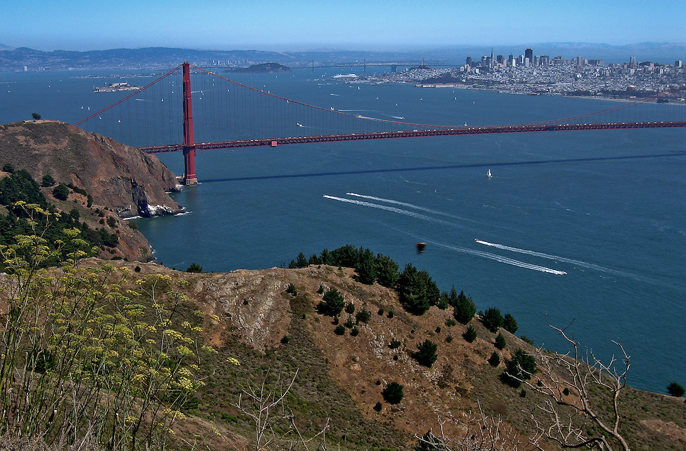 daytime view of the golden gate bridge and san francisco from the top of the marin headlands
