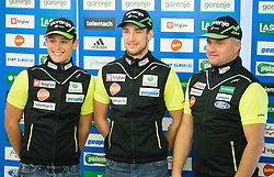 Miha Simenc, Bostjan Klavzar, Marko Gracer during official presentation of the outfits of the Slovenian Ski Teams before new season 2015/16, on October 6, 2015 in Kulinarika Jezersek, Sora, Slovenia. Photo by Vid Ponikvar / Sportida