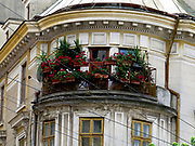 Building and street scene in Bucharest, Romania
