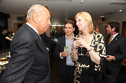 A party to promote the exclusive Puntacana Resort & Club - the Caribbean's Premier Golf & Beach Resort Destination, was held at The Groucho Club, 45 Dean Street London on 12th May 2010.<br /> <br /> Picture shows:-Left to right, OSCAR DE LA RENTA, KATHERINE BARTON and JAMES HART