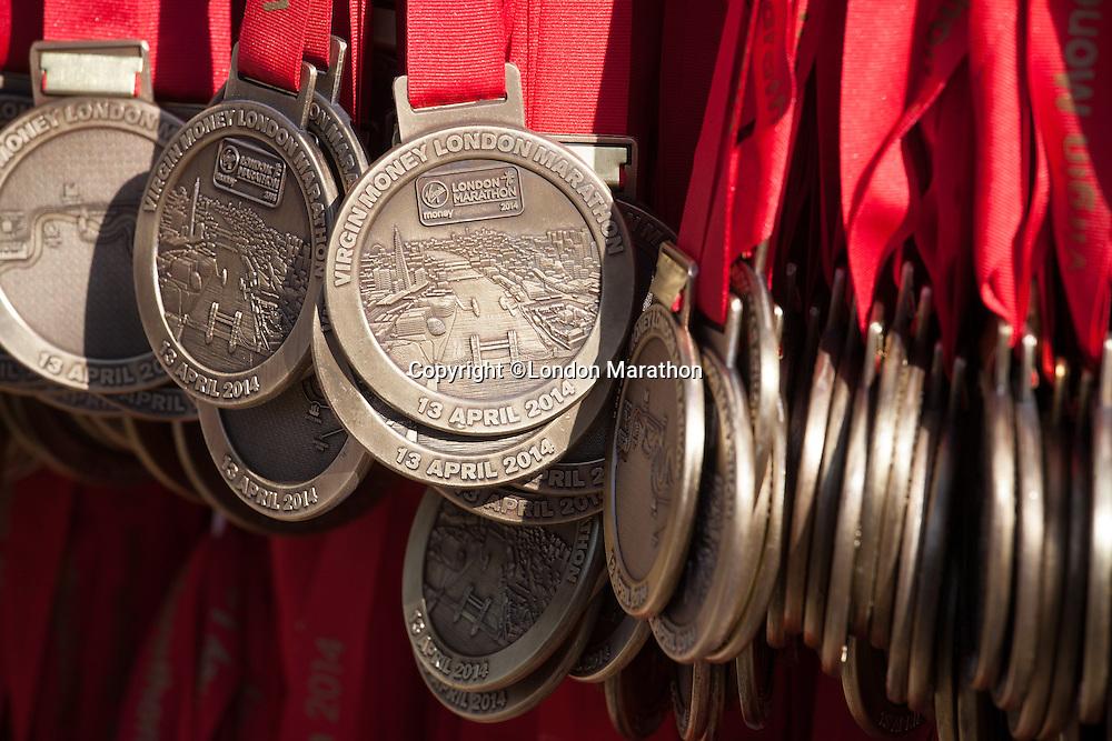 Medals waiting for athletes at the end of the Virgin Money London Marathon 2014 on Sunday 13 April 2014<br /> Photo: Roger Allan/Virgin Money London Marathon<br /> media@london-marathon.co.uk