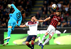 MILAN, May 7, 2019  AC Milan's Mateo Musacchio (R) vies with Bologna's Arturo Calabresi (C) and Lukasz Skorupski during a Serie A soccer match between AC Milan and Bologna in Milan, Italy, May 6, 2019. AC Milan won 2-1. (Credit Image: © Daniele Mascolo/Xinhua via ZUMA Wire)