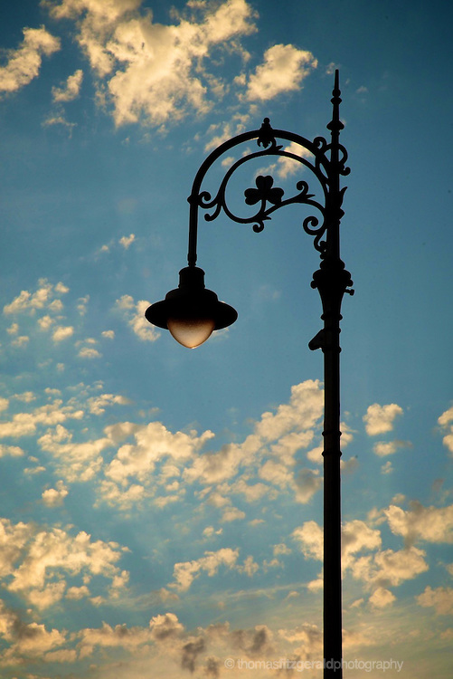 A Dublin Lamp Post sits against the fading light of an eveing sky