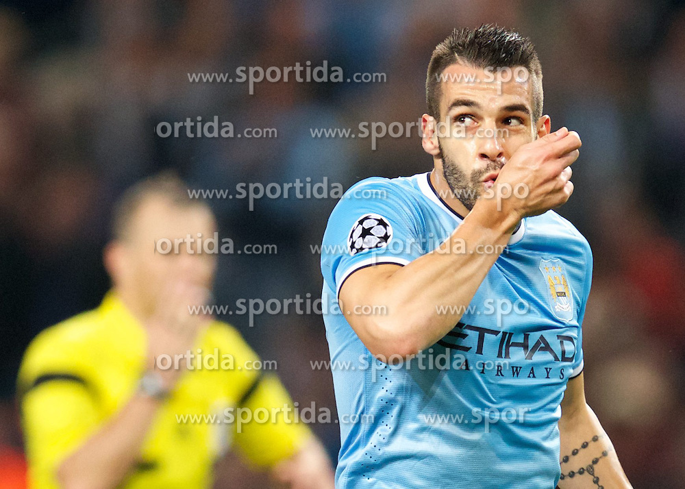 02.10.2013, Etihad Stadion, Manchester, ENG, UEFA Champions League, Manchester City vs FC Bayern Muenchen, Gruppe D, im Bild Manchester City's Alvaro Negredo celebrates scoring the first goal against Bayern Munich during the UEFA Champions League Group D match between Manchester City vs FC Bayern Munich at the Etihad Stadium, Manchester, Great Britain on 2013/10/02. EXPA Pictures &copy; 2013, PhotoCredit: EXPA/ Propagandaphoto/ David Rawcliffe<br /> <br /> ***** ATTENTION - OUT OF ENG, GBR, UK *****