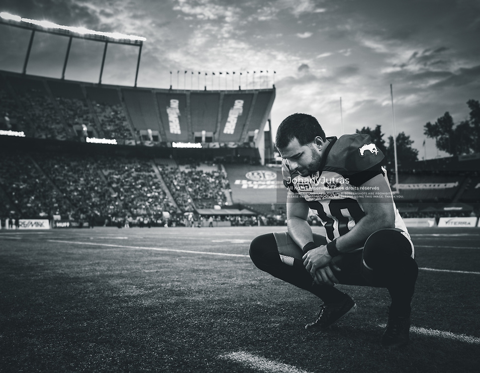 Rene Paredes (30) of the Calgary Stampeders during the game against the Edmonton Eskimos at Commonwealth Stadium in Edmonton AB, Saturday, September 9, 2017. (Photo: Johany Jutras)
