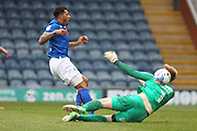 Nathaniel Mendez-Laing shoots just wide during the EFL Sky Bet League 1 match between Rochdale and Coventry City at Spotland, Rochdale, England on 17 April 2017. Photo by Daniel Youngs.