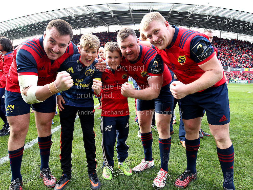 Dan and Tony Foley , the sons of Anthony Foley are pictured with Niall Scannell, Dave Kilcoyne and John Ryan of Munster. European Rugby Champions cup match, pool one, Munster Rugby v Glasgow Warriors at Thomond Park in Limerick , Ireland on Saturday 22nd October 2016.<br /> pic by  John Halas, Andrew Orchard sports photography.