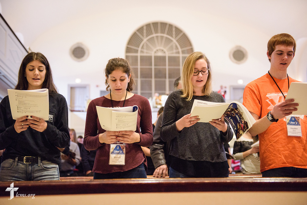 Students sing during morning prayer at the Liberty National LCMS Campus Ministry Conference on Wednesday, Jan. 4, 2017, at the University of Maryland in College Park, Md. LCMS Communications/Erik M. Lunsford