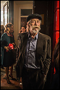 JOHN HURT, Mim Scala, In Motion, private view. Eleven. Eccleston st. London. 9 October 2014.
