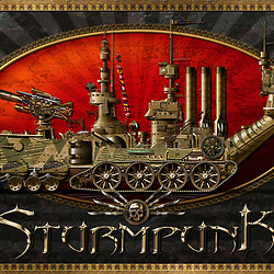 Super detailed Steampunk illustration of a 19th-century steam powered amphibious armoured vehicle. Created utilising conventional and digital illustrative techniques, with over 16,000 original illustrations and photo-composite elements