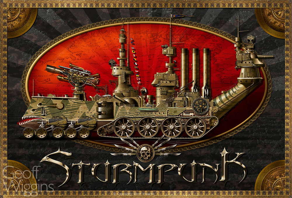 Super detailed Steampunk concept illustration of a Victorian-esque amphibious steam powered landship. Highly detailed image consisting of over 20,000 elements