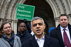 © Licensed to London News Pictures. 27/02/2020. London, UK. Mayor of London Sadiq Khan leaves the High Court after judges ruled that the planned expansion of Heathrow Airport was illegal over climate change. Photo credit: Rob Pinney/LNP