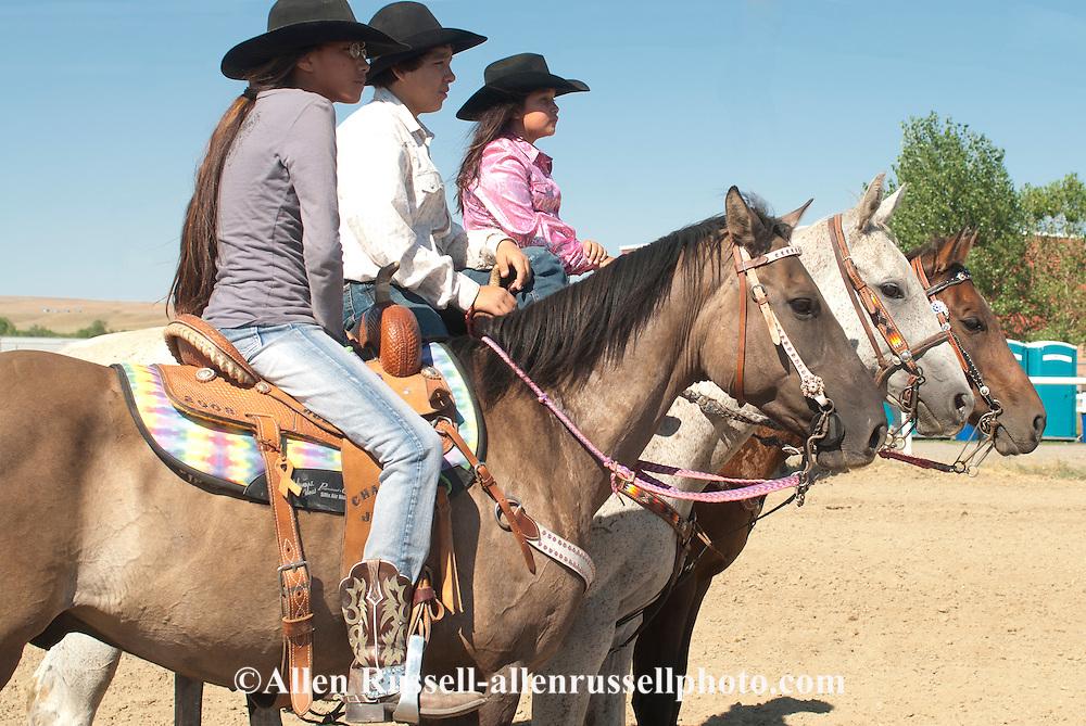 Crow Fair, Indian rodeo, barrel racers, Crow Indian Reservation, Montana
