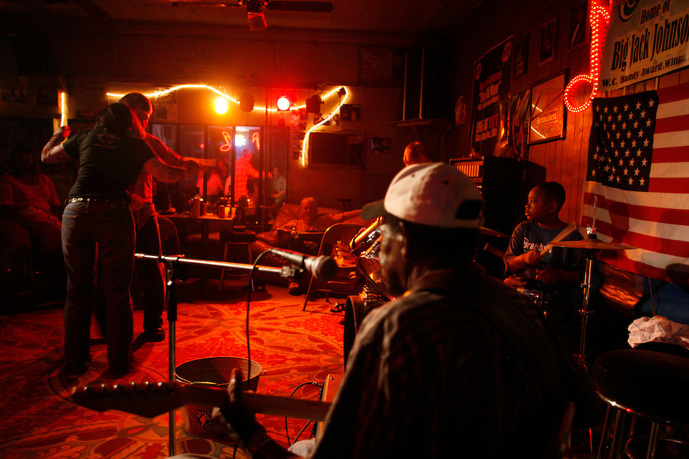 Bluesman T-Model Ford and his grandson, Stud, play a set a Red's Lounge in Clarksdale, Miss., 2007.