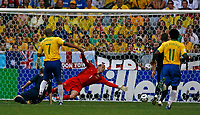 Photo: Glyn Thomas.<br />Brazil v Australia. Group F, FIFA World Cup 2006. 18/06/2006.<br /> Brazil's Adriano (L) gives his team a 1-0 lead.