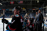 KELOWNA, CANADA - SEPTEMBER 5: Kelowna Rockets' coaching staff Jason Smith and Kris Mallette stand on the bench against the Kamloops Blazers on September 5, 2017 at Prospera Place in Kelowna, British Columbia, Canada.  (Photo by Marissa Baecker/Shoot the Breeze)  *** Local Caption ***