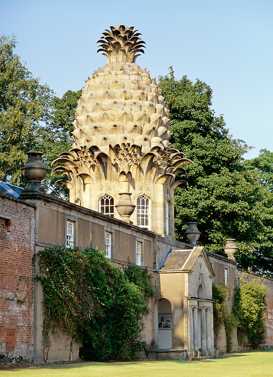 The Dunmore Pineapple in Dunmore Park, Airth, Central Region, Scotland. Built 1761 as estate summer house hothouse garden folly