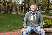 Location portraits of Tyler Daniels on College Green photographed for the War and Peace Studies Brochure on April 27, 2015.  Photo by Ohio University  /  Rob Hardin