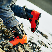 David hiking to ski a line outside Reykjavik, Iceland in the Arcteryx ski boots.