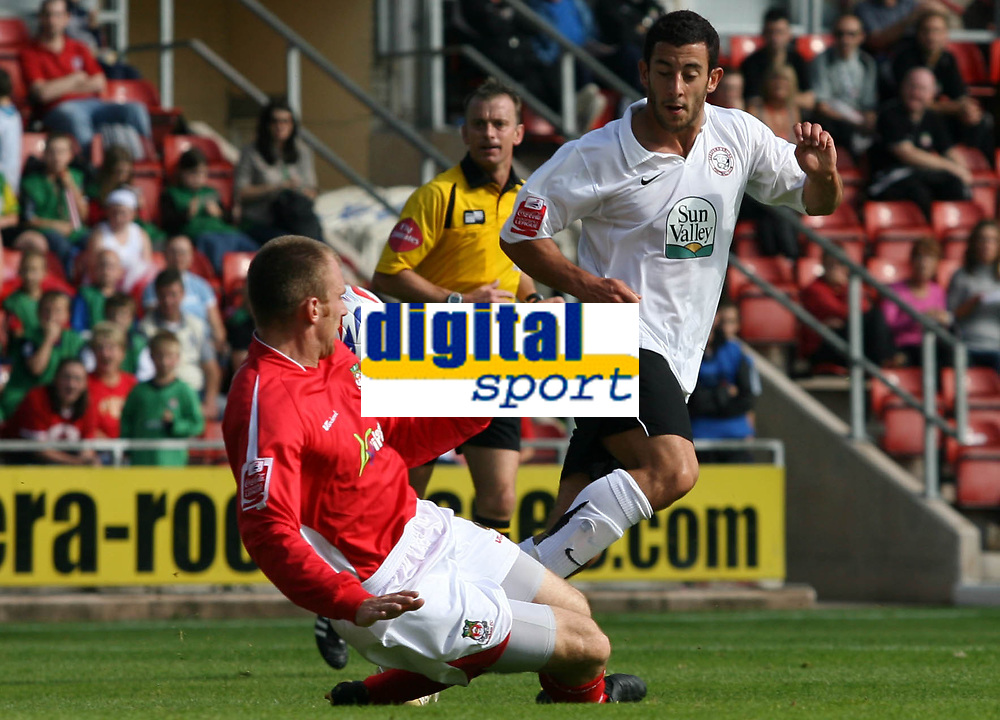 Photo: Rich Eaton.<br /> <br /> Wrexham v Hereford United. Coca Cola League 2. 24/09/2006. Stuart Fleetwood right of Hereford sees his shot blocked by Danny Williams