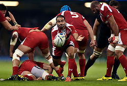 Giorgi Begadze of Georgia passes the ball - Mandatory byline: Patrick Khachfe/JMP - 07966 386802 - 02/10/2015 - RUGBY UNION - Millennium Stadium - Cardiff, Wales - New Zealand v Georgia - Rugby World Cup 2015 Pool C.
