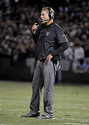 Dec 17, 2017; Oakland, CA, USA; Oakland Raiders head coach Jack Del Rio watches from the sideline against the Dallas Cowboys during an NFL football game at Oakland-Alameda County Coliseum.