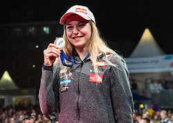 08.09.2018, Kletterzentrum, Innsbruck, AUT, IFSC, Kletter WM Innsbruck 2018, Siegerehrung, Damen, Vorstieg, im Bild Jessica Pilz (AUT, 1. Platz, Goldmedaille) // gold medalist and World Champion Jessica Pilz of Austria during winner ceremony of Womman Lead for the IFSC Climbing World Championships 2018 at the Kletterzentrum in Innsbruck, Austria on 2018/09/08. EXPA Pictures © 2018, PhotoCredit: EXPA/ Moritz Liebhaber