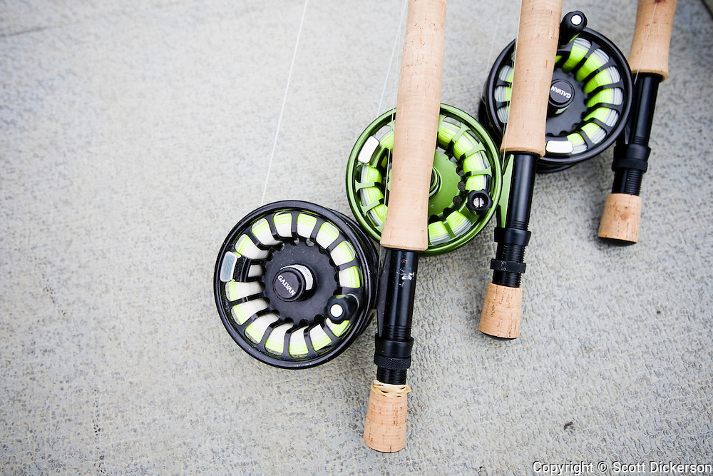 Fly rods used for sport fishing salmon on the Naknek river in Bristol Bay, Alaska.