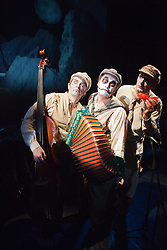 "© Licensed to London News Pictures. 05/09/2013. London, England. L-R: Adrian Stout, Martyn Jacques and Mike Pickering. ""Rime of the Ancient Mariner"" - a 90-minute musical adaptation of Samuel Taylor Coleridge' greatest work - is performed by ""The Tiger Lillies"" collaborating with American visual artist Mark Holthusen to create a show that is between a movie and a concert. The Tiger Lillies are Martyn Jacques (vocals, accordion, piano), Adrian Stout (bass, vocals) and Mike Pickering (drums) and will be performing at the Queen Elizabeth Hall, London, from 5 to 8 September 2013. Photo credit: Bettina Strenske/LNP"