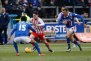 Stevenage FC Midfielder Tom Pett takes on Carlisle United Defender Courtney Meppen-Walter during the Sky Bet League 2 match between Carlisle United and Stevenage at Brunton Park, Carlisle, England on 20 February 2016. Photo by Craig McAllister.