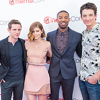 LAS VEGAS - APR 23: (L-R) Actors Jamie Bell, Kate Mara, Michael B. Jordan, Miles Teller at the 20th Century Fox 2015 Presentation at Cinemacon on April 23, 2015 at Caesars Palace in Las Vegas