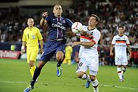 FOOTBALL - FRENCH CHAMPIONSHIP 2012/2013 - L1 - PARIS SG v FC LORIENT - 11/08/2012 - PHOTO JEAN MARIE HERVIO / REGAMEDIA / DPPI - JEREMY MENEZ (PSG) / MATHIEU CONTADEUR (FCL)