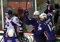Mitja Robar, Anze Kopitar, David Rodman of Slovenia celebrate a goal at ice-hockey game Slovenia vs Slovakia at second game in  Relegation  Round (group G) of IIHF WC 2008 in Halifax, on May 10, 2008 in Metro Center, Halifax, Nova Scotia, Canada. Slovakia won after penalty shots 4:3.  (Photo by Vid Ponikvar / Sportal Images)
