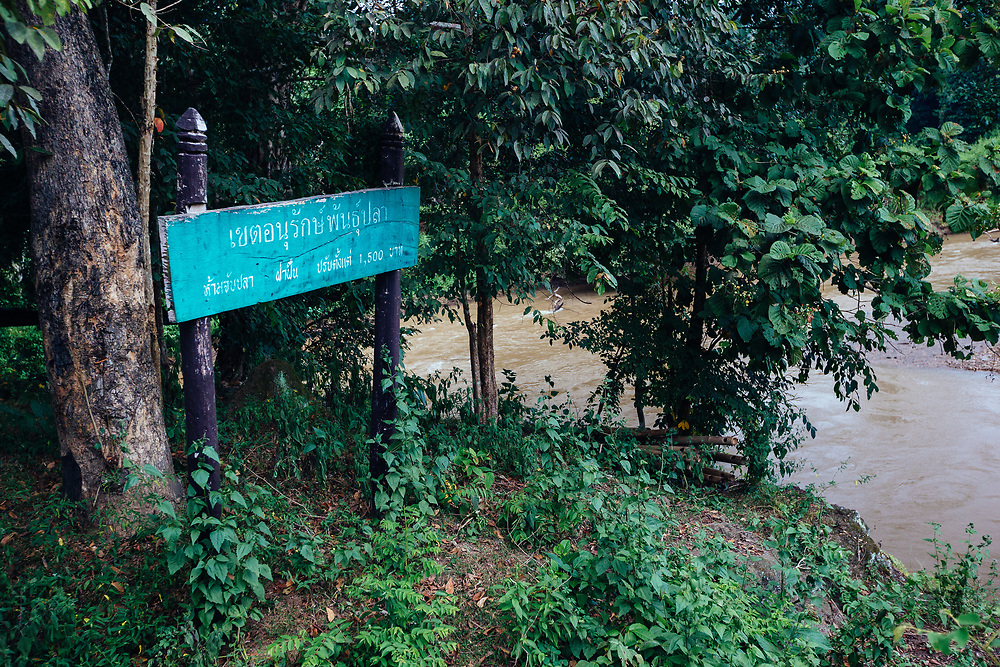 A village sign at the the entrance to our homestay in the higher altitude jungle near Ban Sop Gai, Thailand.