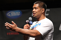October 1, 2011; Washington D.C.; USA; Mark Munoz talks with fans during the UFC Fight Club Q & A during the UFC on Versus Weigh-In's at the DC Armory.